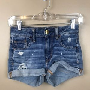 American Eagle hi rise shortie denim distressed 00